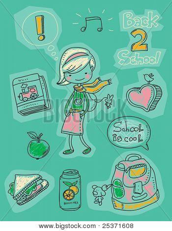 back to school kid doodles