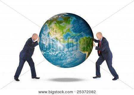 Two businessmen are holding the planet earth