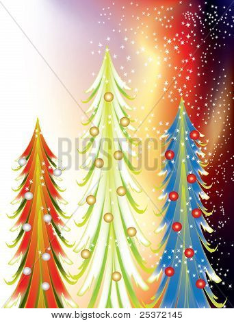 Colourful abstract Christmas trees