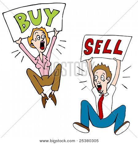 Una imagen de un inversionistas de bolsa con compra venta de signos.