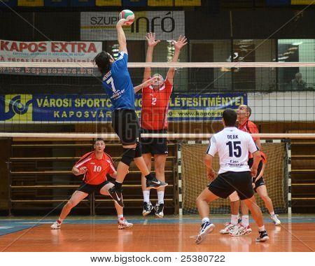 KAPOSVAR, HUNGARY - NOVEMBER 13: Andras Geiger (blue 7) in action at a Hungarian National Championship volleyball game Kaposvar (blue) vs. Nyiregyhaza (red), November 13, 2011 in Kaposvar, Hungary.