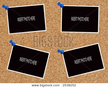 Four Photos On Corkboard Psd
