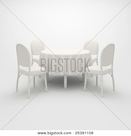 Empty White Round Table.
