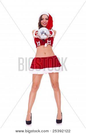 Santa Woman Offering A Disco Ball