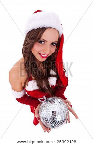 Sexy Santa Holding A Disco Ball