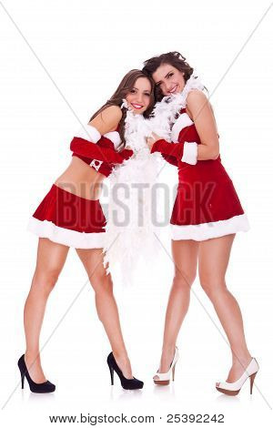 Santa Women Playing Together