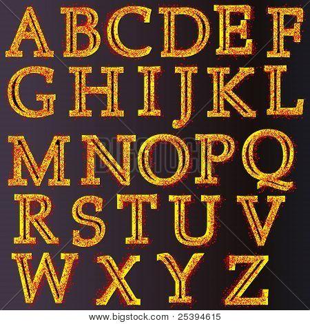 Creative Golden Style Alphabet