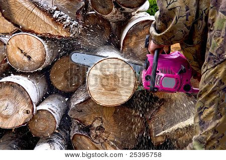 Firewood With Chainsaw