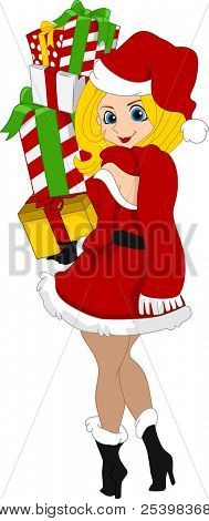 Illustration of a Pinup Girl Carrying a Stack of Gifts