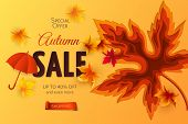 Vector Autumn Sale Banner With 3d Realistic Carving Art Of Maple Leaf, Cut Out Of Paper Red Umbrella poster