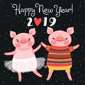 Happy 2019 New Year Card. Couple Of Funny Piglets Congratulate On The Holiday. Pig In Ballet Tutu An poster