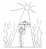 Cartoon Stick Drawing Conceptual Illustration Of Sweating Man Standing On Sun In Hot Summer Weather  poster