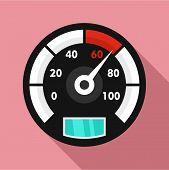 Motor Bike Speedometer Icon. Flat Illustration Of Motor Bike Speedometer Icon For Web Design poster