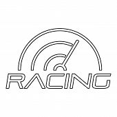 Racing Line Speedometer Logo. Outline Racing Line Speedometer Logo For Web Design Isolated On White  poster