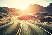 Retro Toned Scenic Desert Road At Sunset, Travel Concept, Usa. poster