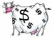 stock photo of cows  - Cartoon of a cash cow with dollar signs on its body - JPG