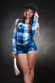 Pretty Gorgeous Woman Holding Machete. Strong Girl Feminist Wearing Checked Shirt And Hat. poster