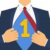 Business Goal Achievement Vector Concept. Businessman Show Us Business Goal Achievement On His Chest poster