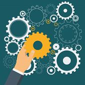 Hand Putting Gold Gear To Cogwheel Mechanism. Cogwheels As Symbol Of Successful Business. Vector Ill poster