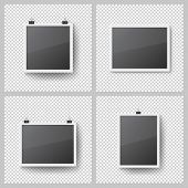 Realistic Blank Photo Frames Set On Transparent Background. Template Picture Frame Hanging On Binder poster