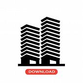 Apartments Vector Icon Flat Style Illustration For Web, Mobile, Logo, Application And Graphic Design poster