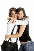 image of hughes  - Two young beautiful sisters having fun isolated on white  - JPG