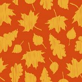 Fall Background. Seamless Pattern With Autumn Leaves On An Orange Background. There Are Yellow Leave poster
