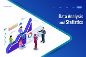 Isometric Web Banner Data Analysis And Statistics Concept. Vector Illustration Business Analytics, D poster