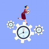 Businesswoman Running On Clock Cogwheels Over Blue Background Gear Deadline Process Strategy Concept poster