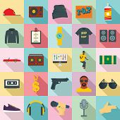 Hiphop Rap Swag Music Dance Icons Set. Flat Illustration Of 25 Hiphop Rap Swag Music Dance Icons For poster