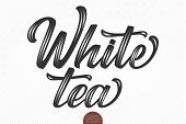 Vector Volumetric Lettering - White Tea. Hand Drawn Thankful Card With Modern Brush Calligraphy. Iso poster