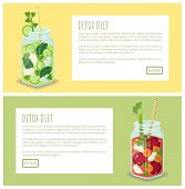 Detox Diet Web Page Jar Collection Refreshing Drink Containing Fresh Green Cucumber, Slices Of Apple poster