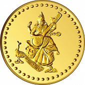stock photo of indian money  - shiny gold coin with the image of dancing and playing a musical instrument of Indian four - JPG