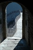 picture of zedong  - Viewing a section of the Great Wall of China through the gate of one of the watchtowers of the Wall on a sunny day - JPG