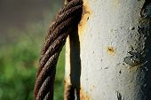 Thick Steel Rope Close Up. Bridge Fence Element. Detailed View. The Surface Of The Steel Cable Is Co poster
