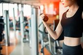 Hand Of Sports Woman Lifting Dumbbell For Weight Training By Hand For Pumping Biceps Muscle With Fit poster