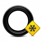 foto of slip hazard  - Winter tire icon - JPG