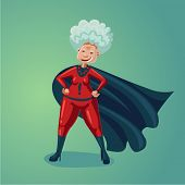 Wonder Old Lady. Senior Adult Woman In Super Hero Suit. Healthy Lifestyle Humor Cartoon Illustration poster