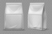 Plastic Snack Bag. Transparent Food Blank Sachet. 3d Vector Package Isolated Mockup. Illustration Co poster