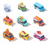 Isometric Street Food Trucks And Carts. Selling Hot Dogs And Coffee, Pizza And Snacks. 3d Isolated V poster