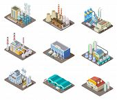 Isometric Factory Set. 3d Industrial Buildings, Power Plant And Warehouse. Isolated Vector Collectio poster