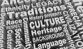 Culture Heritage Ethnic Race Groups Diversity Word Collage 3d Illustration poster