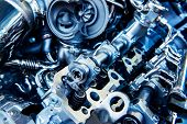 The Powerful Engine Of A Car. Internal Design Of Engine. Car Engine Part. Modern Powerful Car Engine poster