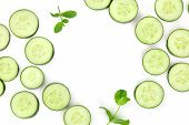 Sliced Cucumber And Mint On White, A Fresh Background With Copyspace poster