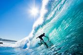 Surfer on Amazing Blue Wave