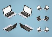 Isometric Vector Laptop Illustration. Set Of Opened Laptop From Different Sides With Optional Screen poster