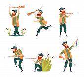 Characters Of Hunters. Vector Cartoon Illustrations Of Various Hunter Mascots poster
