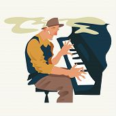 Musician Plays A Piano. Jazz Or Blues Keyboard Player. Element For Flyer, Posters Of Festival Jazz M poster