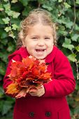Laughing Child Holds A Bouquet Of Autumn Leaves. poster