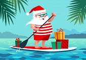 Cute Santa Claus On Paddle Board With Gifts Against Tropical Ocean Background Vector Cartoon Illustr poster